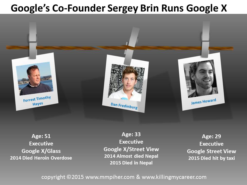Google X Sergey Brin Forrest Timothy Hayes Dan Fredinburg James Howard Executive Deaths