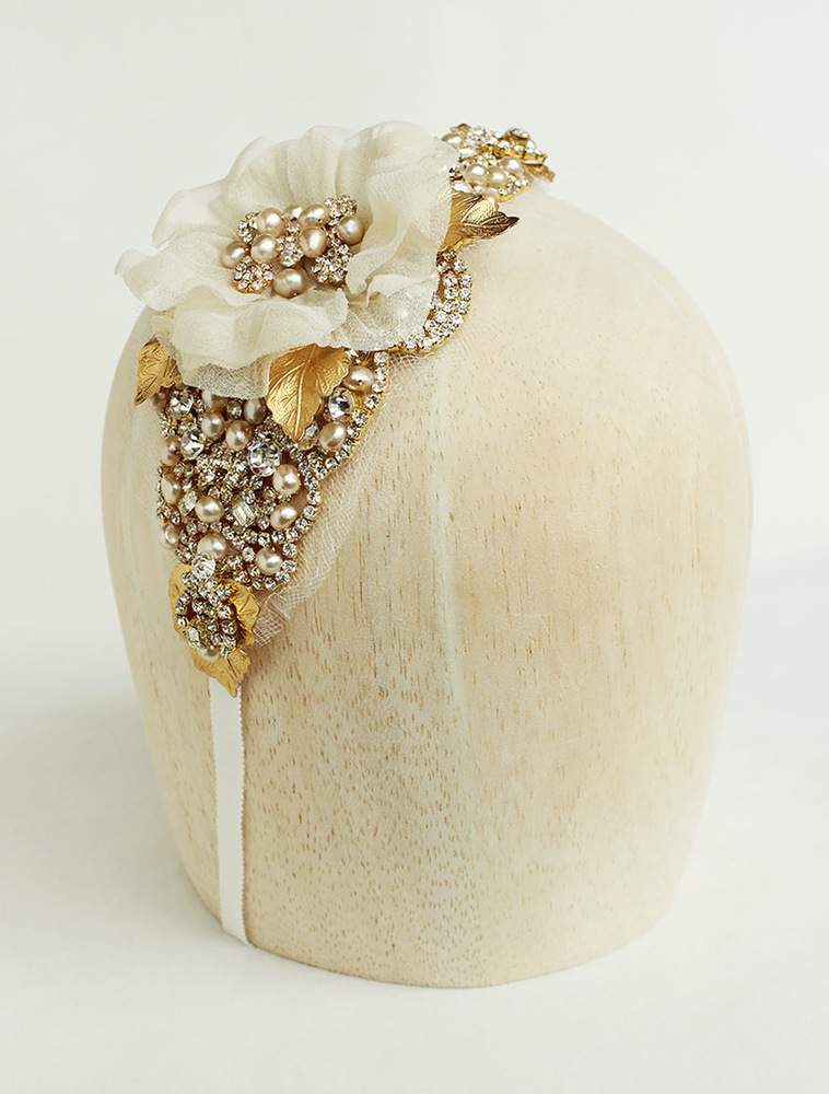 Janelle Gold Champagne Floral Headband OR Sash. On sale for $60