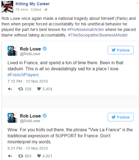 Rob Lowe Professional Victim ParisAttacks