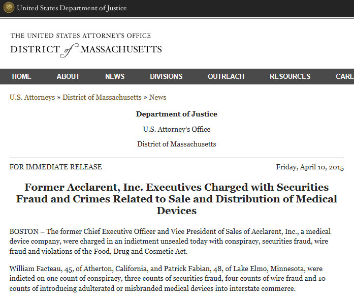 DOJ Press Release April 10 Former Acclarent Executives Arrested & Charged with Securities Crimes