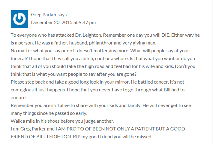 Greg Parker defends his friend and surgeon Bill Leighton