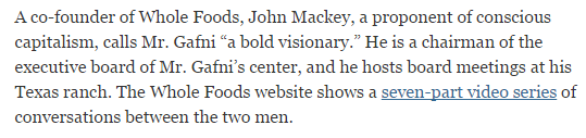 Whole Foods Co-Founder John McKay is a Gafni accomplice.