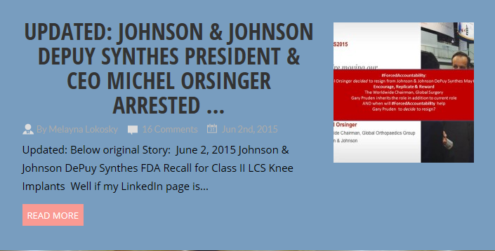 Johnson & Johnson DePuy Synthes CEO Michel Orsinger is The #GodOfFrauds