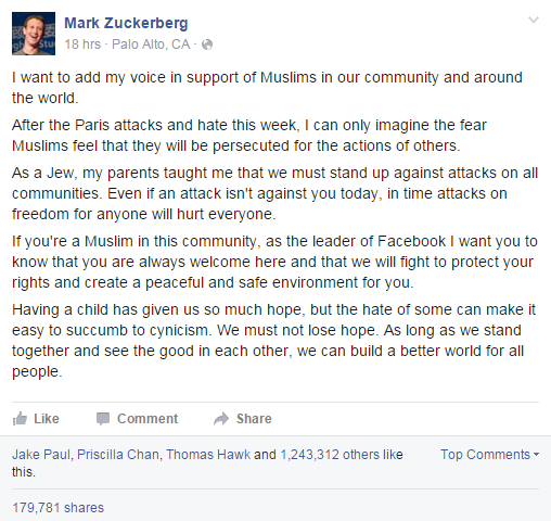 Mark Zuckerberg manipulating hot topics like Ebola and Muslims for personal political gain.