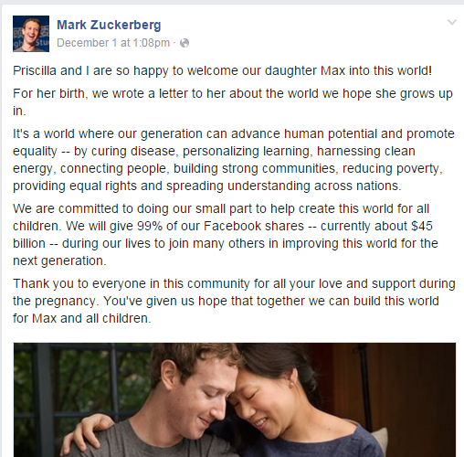 If Mark Zuckerberg really wanted to lead by example he'd stop manipulating facts and DONATE 99% OF HIS NET WORTH NOW, it's not like the world couldn't us the help.