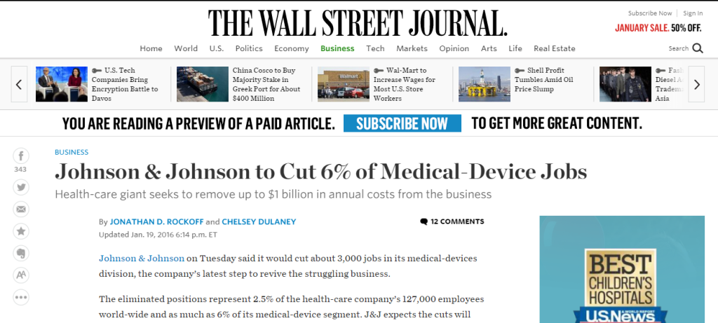 Do all Johnson & Johnson negative press releases only get released to The Wall Street Journal as a means to control negative PRSpin?
