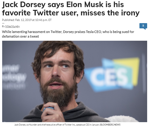 Jack Dorsey says Elon Musk is his favorite Twitter user, misses the irony